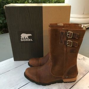 NEW SOREL Major Pull-on Buckle Leather Moto Boots